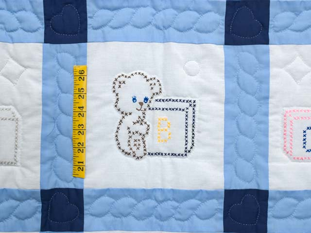 Navy Blue and Cream Cross Stitch Animals Crib Quilt Photo 4