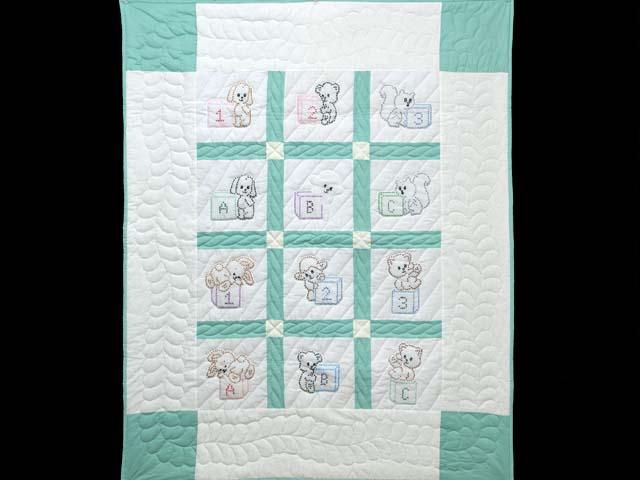 Green and Cream Cross Stitch Animals Crib Quilt Photo 1