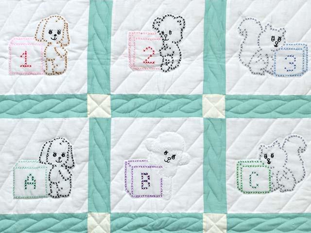 Green and Cream Cross Stitch Animals Crib Quilt Photo 2