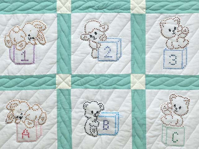 Green and Cream Cross Stitch Animals Crib Quilt Photo 3