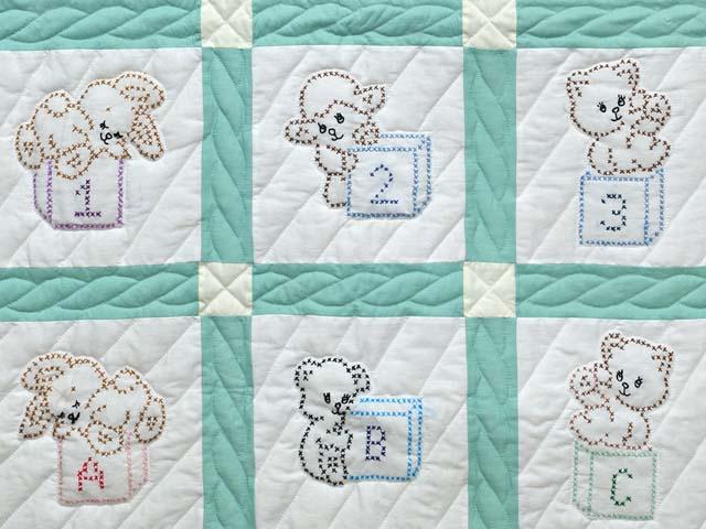 Green and Cream Cross Stitch Animals Crib Quilt Photo 3