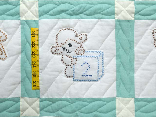 Green and Cream Cross Stitch Animals Crib Quilt Photo 4