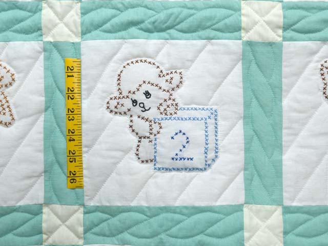 Green and Cream Cross Stitch Animals Crib Quilt Photo 4