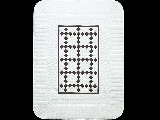 Brown and White Nine Patch Crib Quilt Photo 1