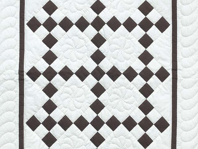 Brown and White Nine Patch Crib Quilt Photo 2