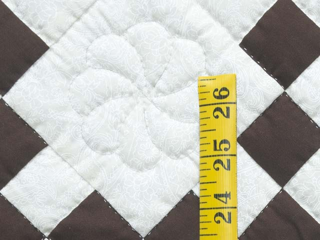 Brown and White Nine Patch Crib Quilt Photo 4