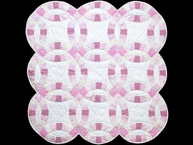Pink and Cream Double Wedding Ring Crib Quilt Photo 1