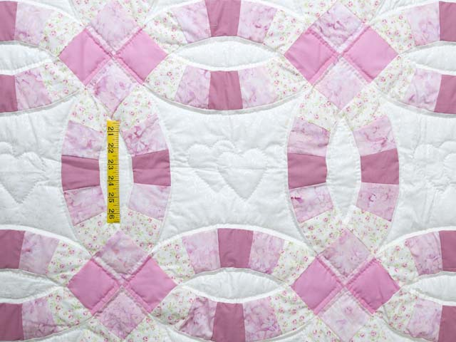Pink and Cream Double Wedding Ring Crib Quilt Photo 3
