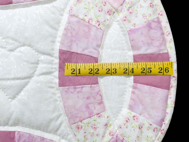 Pink and Cream Double Wedding Ring Crib Quilt Photo 5