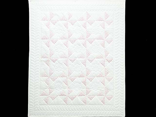 Delicate Floral Rose and Cream Pinwheel Crib Quilt Photo 1