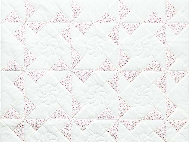 Delicate Floral Rose and Cream Pinwheel Crib Quilt Photo 2