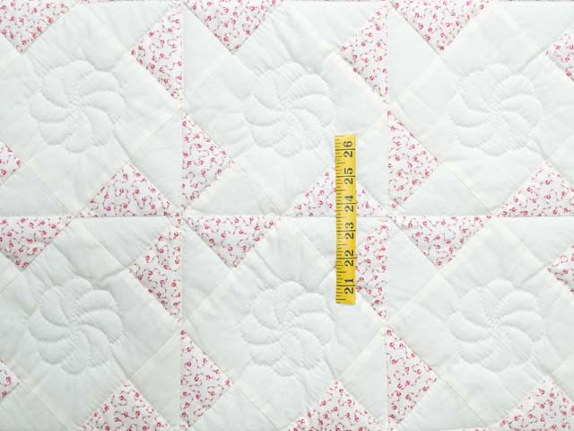 Delicate Floral Rose and Cream Pinwheel Crib Quilt Photo 3