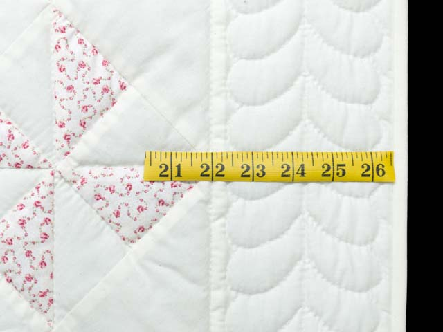 Delicate Floral Rose and Cream Pinwheel Crib Quilt Photo 6