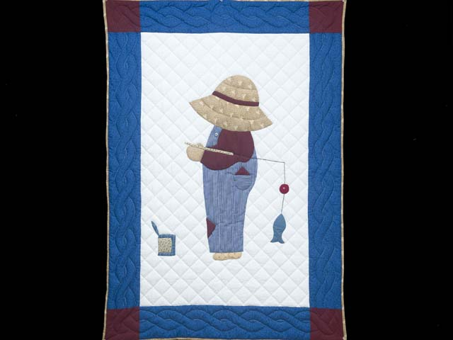 Blue and Burgundy Fisher Boy Applique Crib Quilt Photo 1