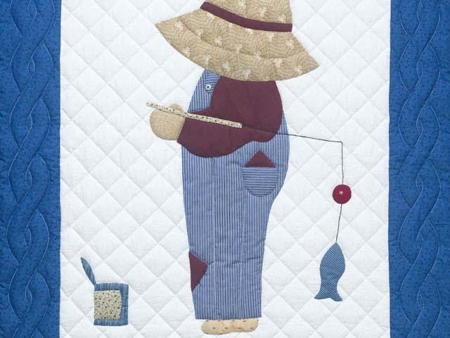 Blue and Burgundy Fisher Boy Applique Crib Quilt Photo 2