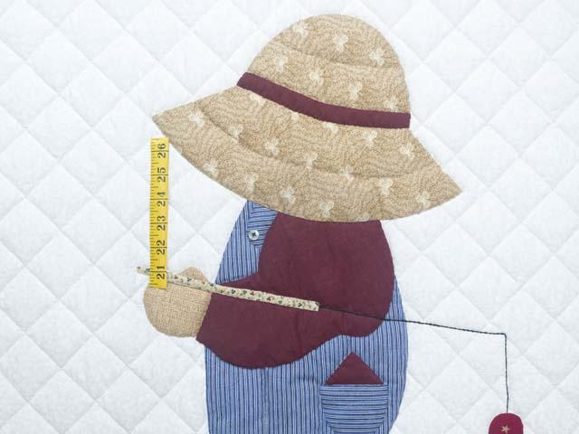 Blue and Burgundy Fisher Boy Applique Crib Quilt Photo 3