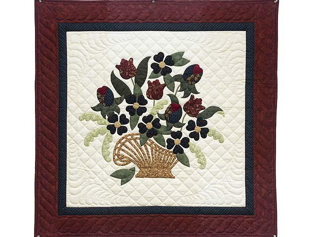 Burgundy and Navy Spring Basket Wall Hanging Photo 1