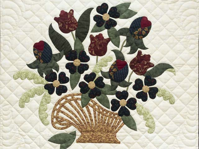 Burgundy and Navy Spring Basket Wall Hanging Photo 2