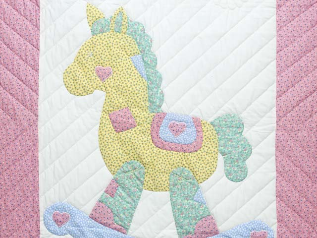 Pastel Pink and Blue Rocking Horse Crib Quilt Photo 2