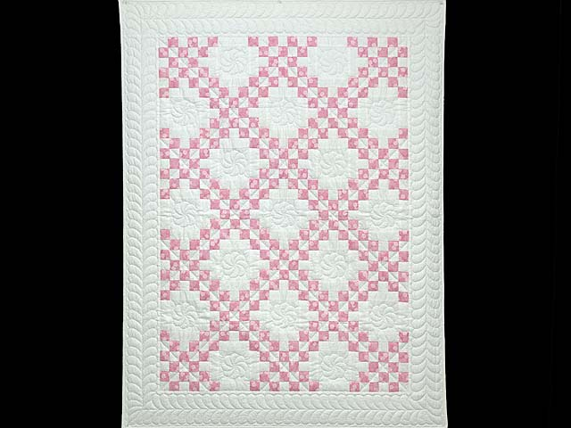 Pastel Pink and Cream Irish Chain Crib Quilt Photo 1