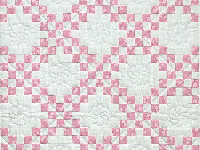 Pastel Pink and Cream Irish Chain Crib Quilt Photo 2