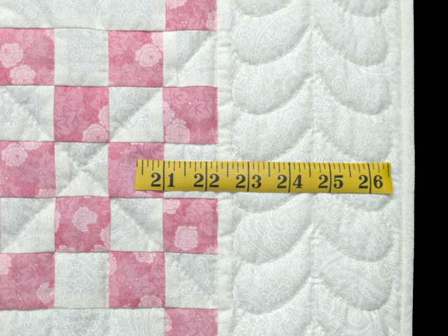 Pastel Pink and Cream Irish Chain Crib Quilt Photo 5