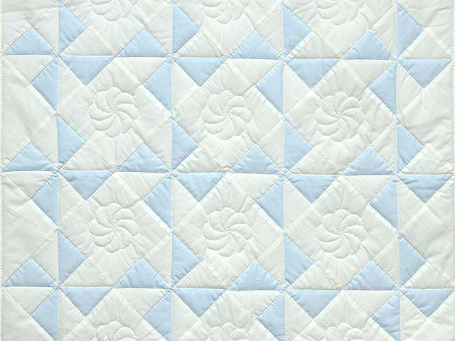 Pastel Blue and Cream Pinwheel Crib Quilt Photo 2