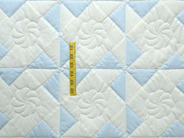 Pastel Blue and Cream Pinwheel Crib Quilt Photo 3