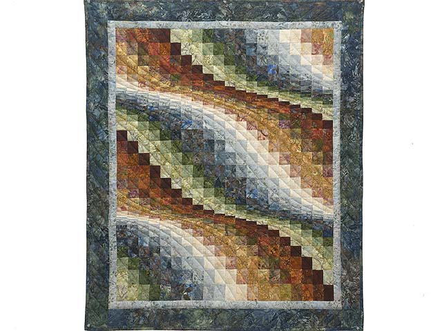 Blues and Multicolor Hand Painted Bargello Wave Wall Hanging Photo 1