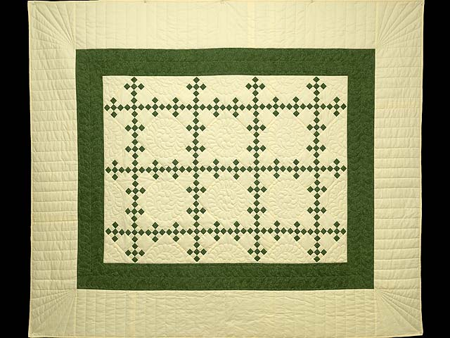 Dark Green and Pale Yellow Nine Patch Throw Photo 1