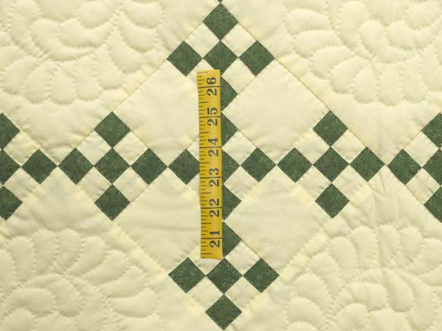 Dark Green and Pale Yellow Nine Patch Throw Photo 3