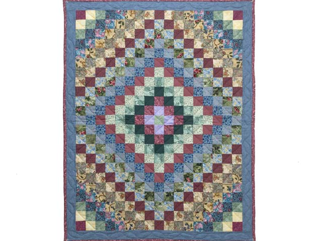 Blue and Multicolor Hit or Miss Crib Quilt Photo 1