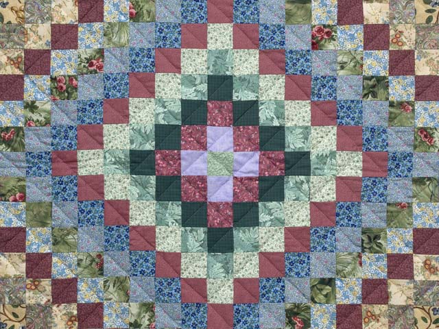 Blue and Multicolor Hit or Miss Crib Quilt Photo 2