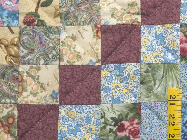 Blue and Multicolor Hit or Miss Crib Quilt Photo 4