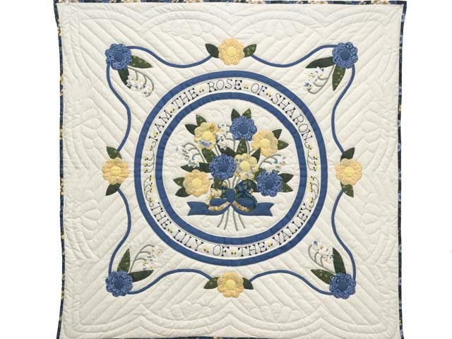 Blue Yellow and Navy Rose of Sharon Wall Hanging Photo 1