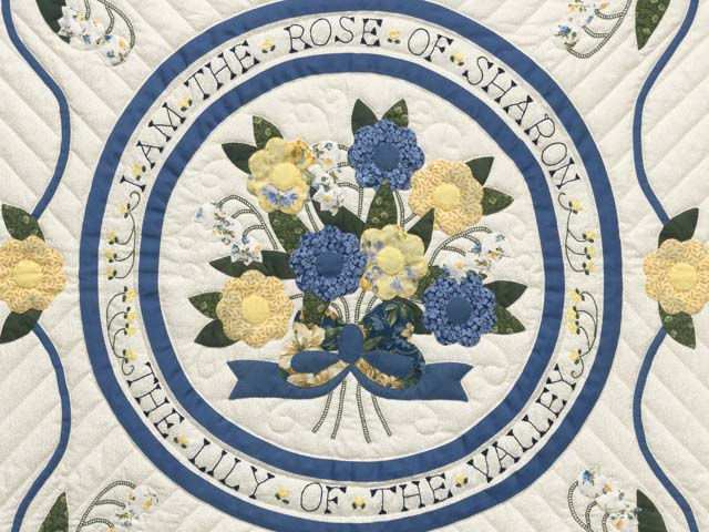 Blue Yellow and Navy Rose of Sharon Wall Hanging Photo 2