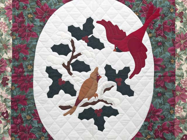 Floral Christmas Cardinals Applique Wall Hanging Photo 2