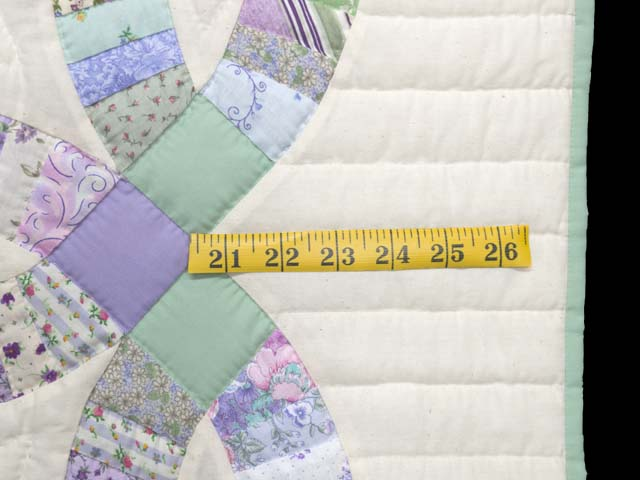 Fine Purple and Green Wedding Ring Crib Quilt Photo 6
