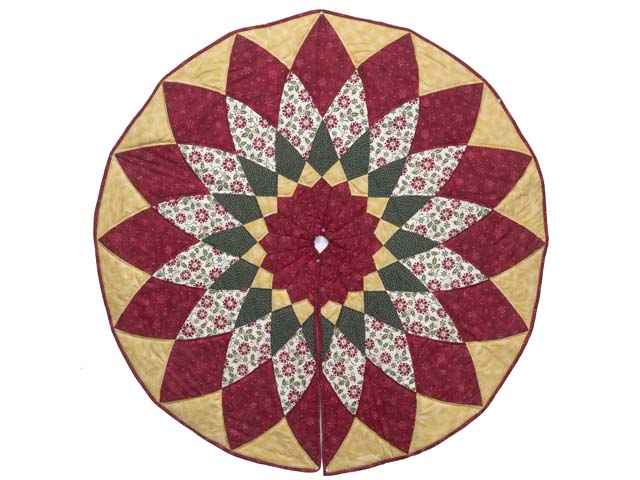 Gold Red and Green Dahlia Star  Christmas Tree Skirt Photo 1