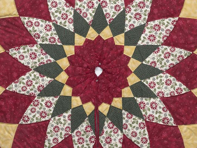 Gold Red and Green Dahlia Star  Christmas Tree Skirt Photo 2