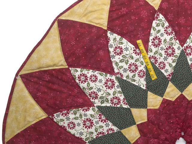 Gold Red and Green Dahlia Star  Christmas Tree Skirt Photo 3