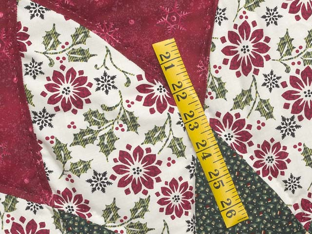 Gold Red and Green Dahlia Star  Christmas Tree Skirt Photo 4
