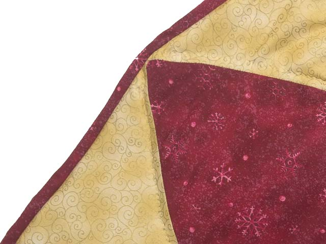 Gold Red and Green Dahlia Star  Christmas Tree Skirt Photo 5