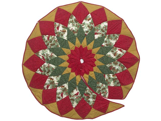 Gold Red and Green Dahlia Star with Cardinals   Christmas Tree Skirt Photo 1