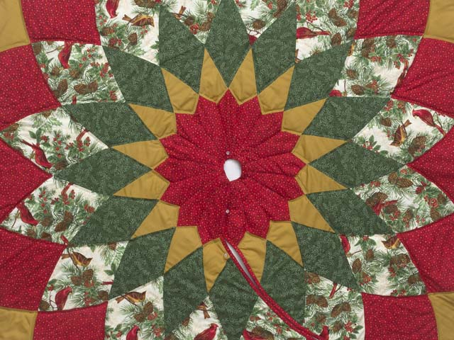 Gold Red and Green Dahlia Star with Cardinals   Christmas Tree Skirt Photo 2