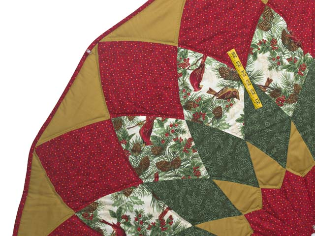 Gold Red and Green Dahlia Star with Cardinals   Christmas Tree Skirt Photo 3