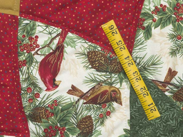 Gold Red and Green Dahlia Star with Cardinals   Christmas Tree Skirt Photo 4