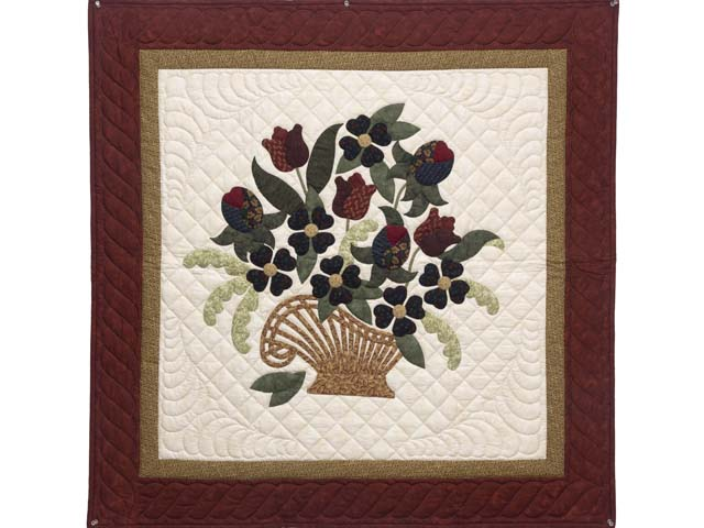 Burgundy and Gold Spring Basket Wall Hanging Photo 1