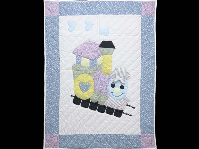 Pastel Blue and Pink Thomas Train Crib Quilt Photo 1