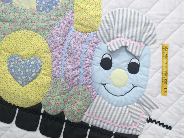 Pastel Blue and Pink Thomas Train Crib Quilt Photo 3